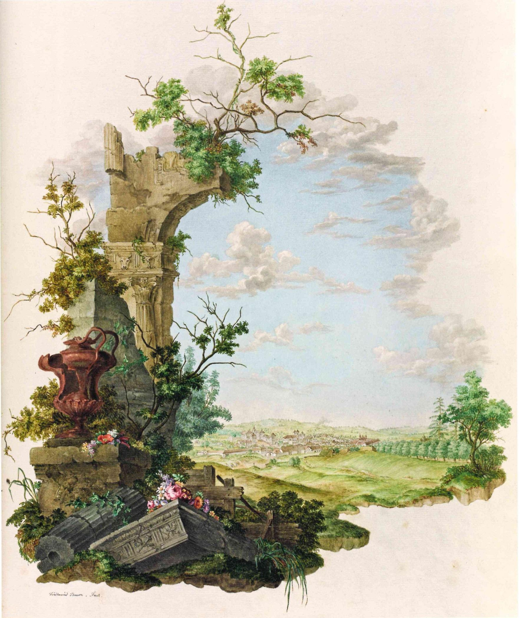 View of the town of Valtice in 1783, then called Feldsberg, watercolour by Ferdinand Bauer in Codex Liechtenstein. – © Hans Walter Lack - The Bauers