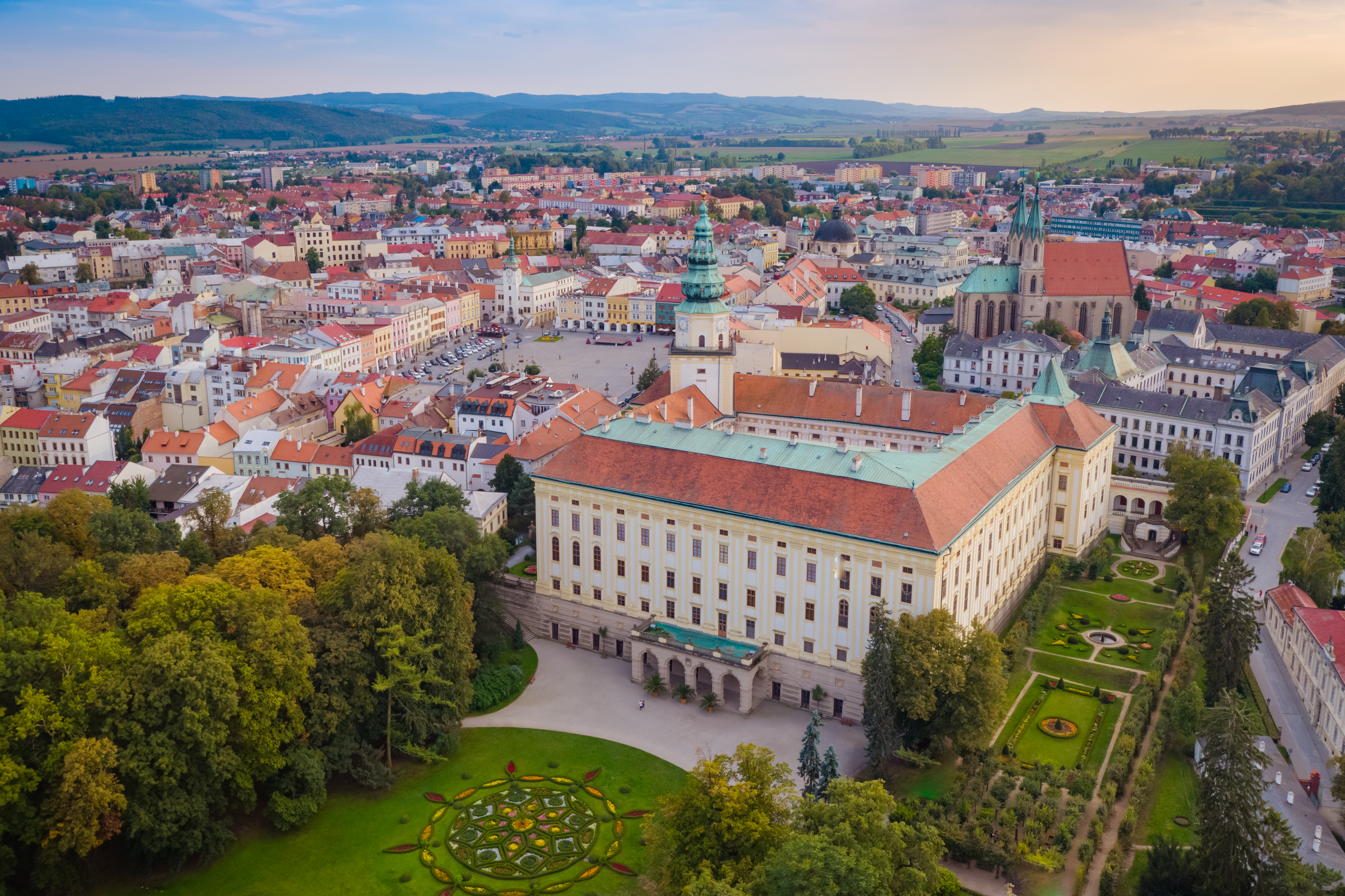 The view of the city of Kroměříž with its dominant, the Archiepiscopal Castle and the Castle Garden. In this picture you can see just a small piece of the whole Garden which is completely an area of 54 hectares. - © The Archive of the Castle of Kroměříž