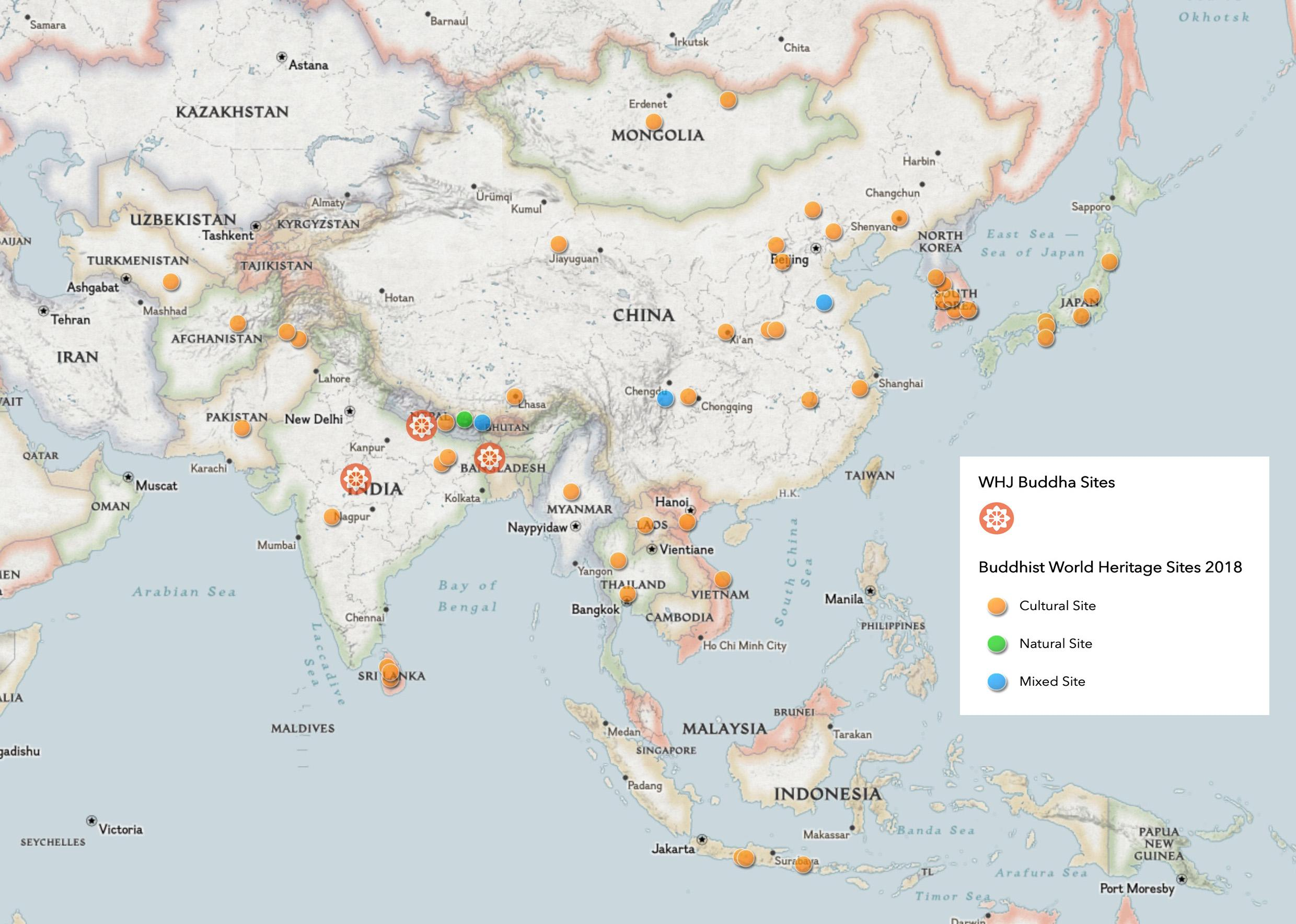 As of 2019, there are 57 UNESCO sites related to Buddhism – © National Geographic Maps