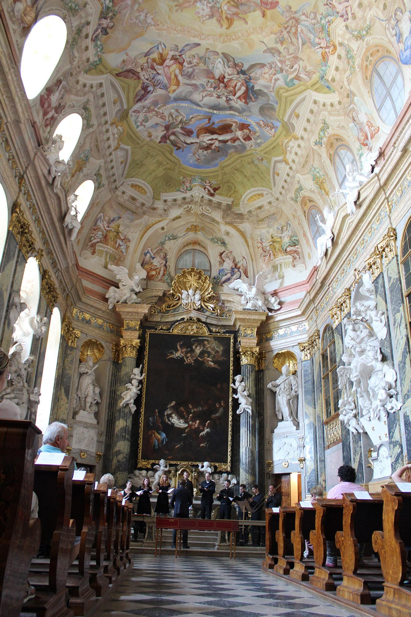 The beautifully decorated Castle Chapel from 1729, with an organ constructed by Lothar Franz Walther, is a purely Central European baroque masterpiece. – © Lenka Beránková