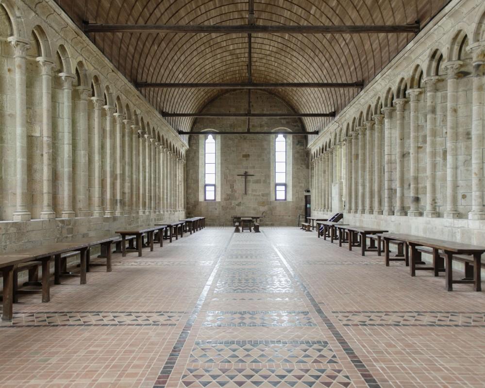 Mont-Saint-Michel Abbey: the monks' ancient Refectory. – © Colombe Clier / Centre des monuments nationaux
