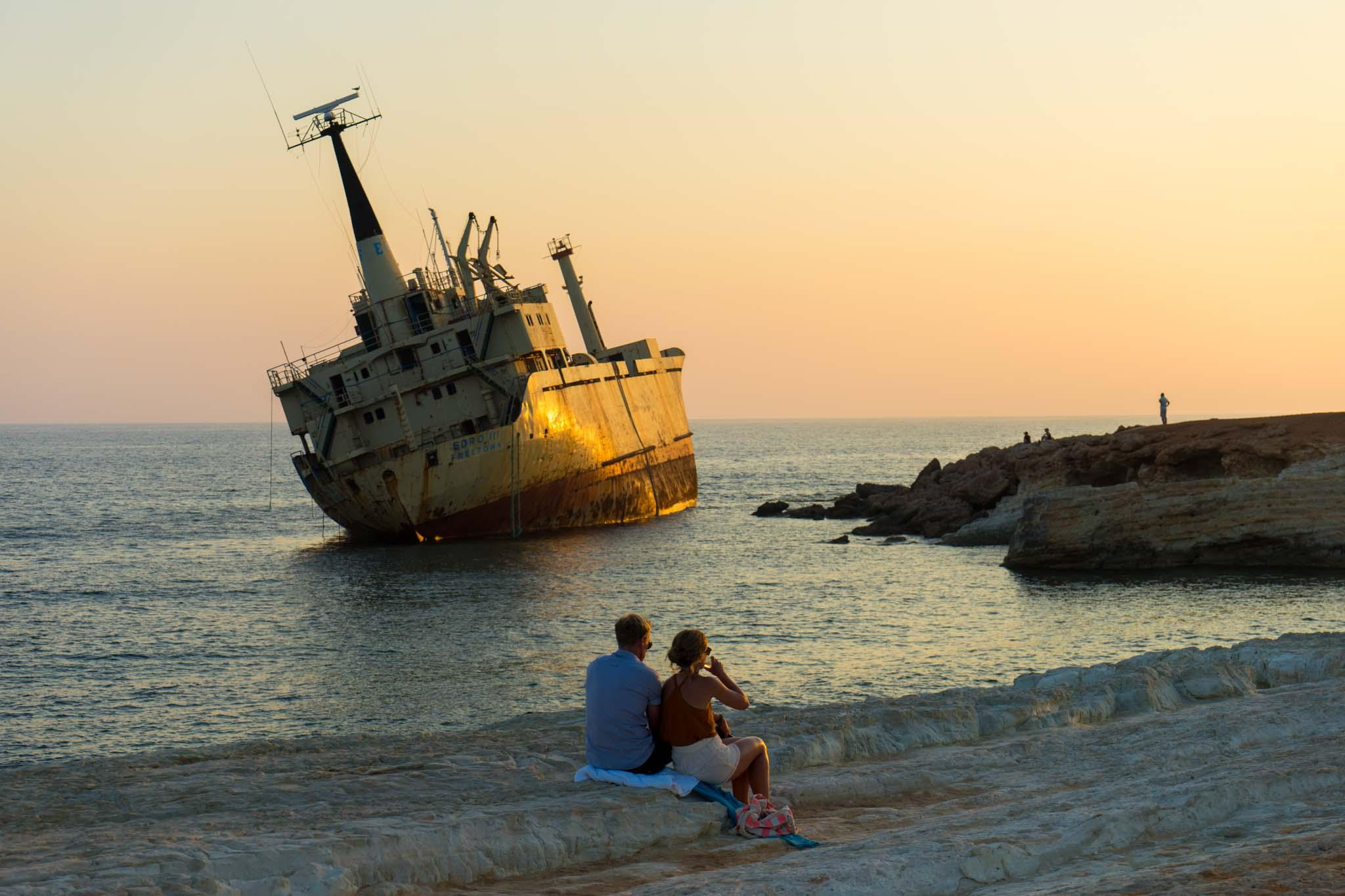 The view of the shipwreck at Pegeia area is one of the most popular spots for sunset. – © Michael Turtle