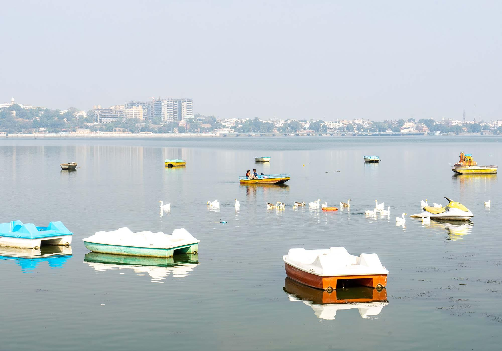 Paddle boats for hire from the Boat Club on the Upper Lake in Bhopal. – © Michael Turtle