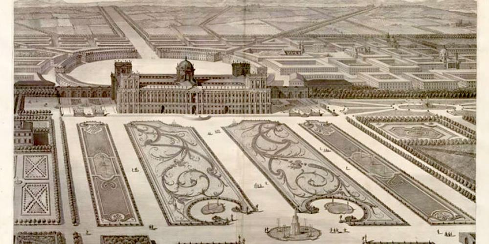 Luigi Vanvitelli (1700-1773), aerial view of the Royal Palace and Park of Caserta, 1756. ETH-Bibliothek Zürich, RAR 933 GF, http://dx.doi.org/10.3931/e-rara-7437 – Public Domain