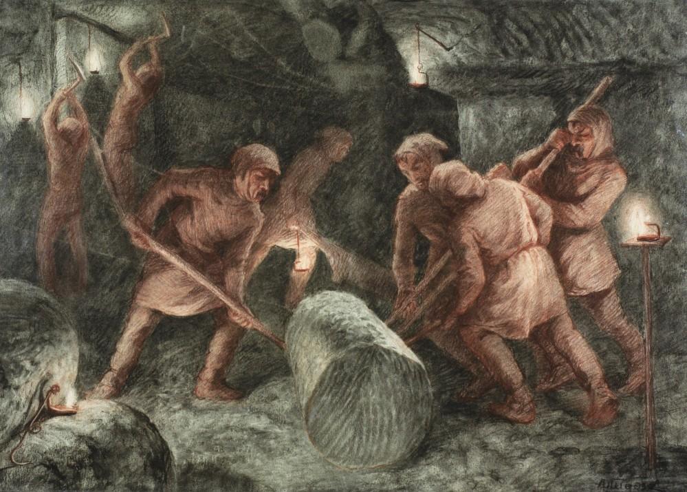 Rouler les pains de sel avec des batons en bois était l'une des nombreuses spécialités des mineurs. – © Musée des Mines de Sel à Wieliczka. Dessin de Alfons Długosz