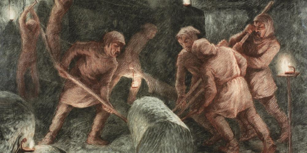 Rolling of salt loaves with wooden poles is one of the numerous professional specialisations of the workers of the former mine. – © Saltworks Museum in the Wieliczka Salt Mine. Drawing by Alfons Długosz