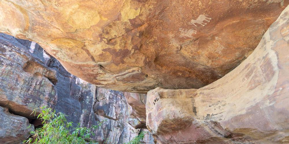 The Bhimbetka Rock Shelters, another World Heritage Site in the region, have cave paintings that are up to 30,000 years old. – © Michael Turtle