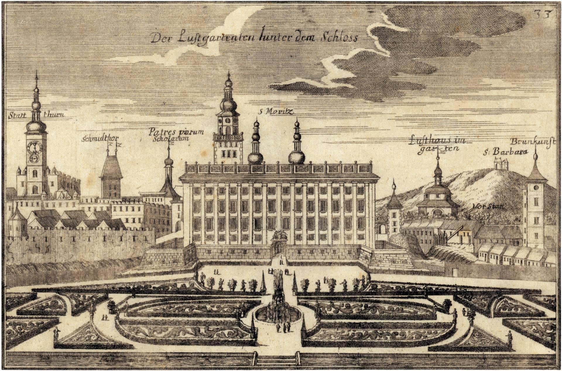 Chateau with Garden in Kroměříž, by Justus van den Nypoort (1691) after Georg Matthias Vischer