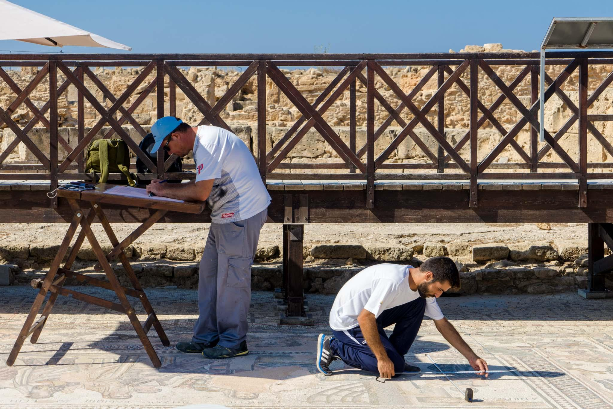 Restoration work is continuing on the magnificent mosaics at the Kato Pafos Archaeological Park that were built on the floors of grand houses. - © Michael Turtle