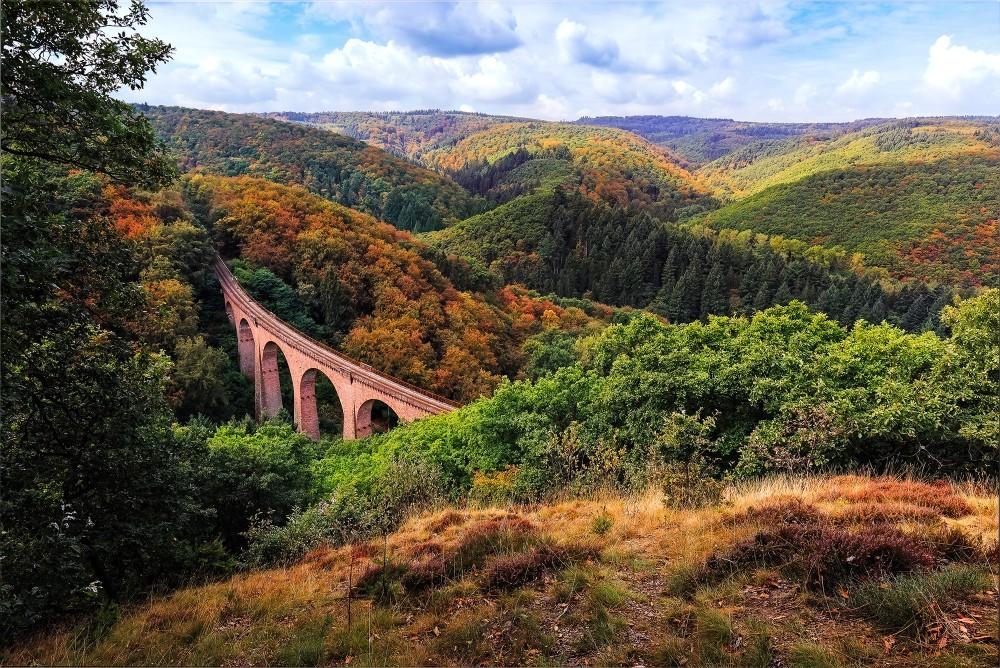 La voie ferrée Boppard-Buchholz-Emmelshausen traverse la forêt de Boppard. En photo : le viaduc ferroviaire près de Boppard sur la Moselle. – © rphstock / Shutterstock