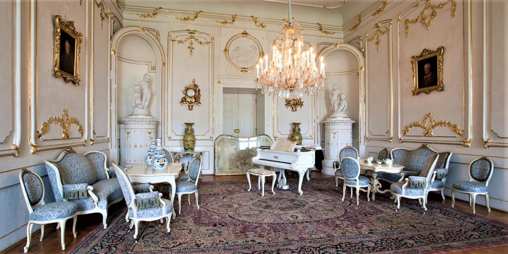 The first room of the Archbishops' Summer Apartment, so called Music Salon or the Reception Room. It is furnished in the Second Rococo style and it is connected with three more rooms of the Summer Apartment and a bathroom. – © Tomas Vrtal