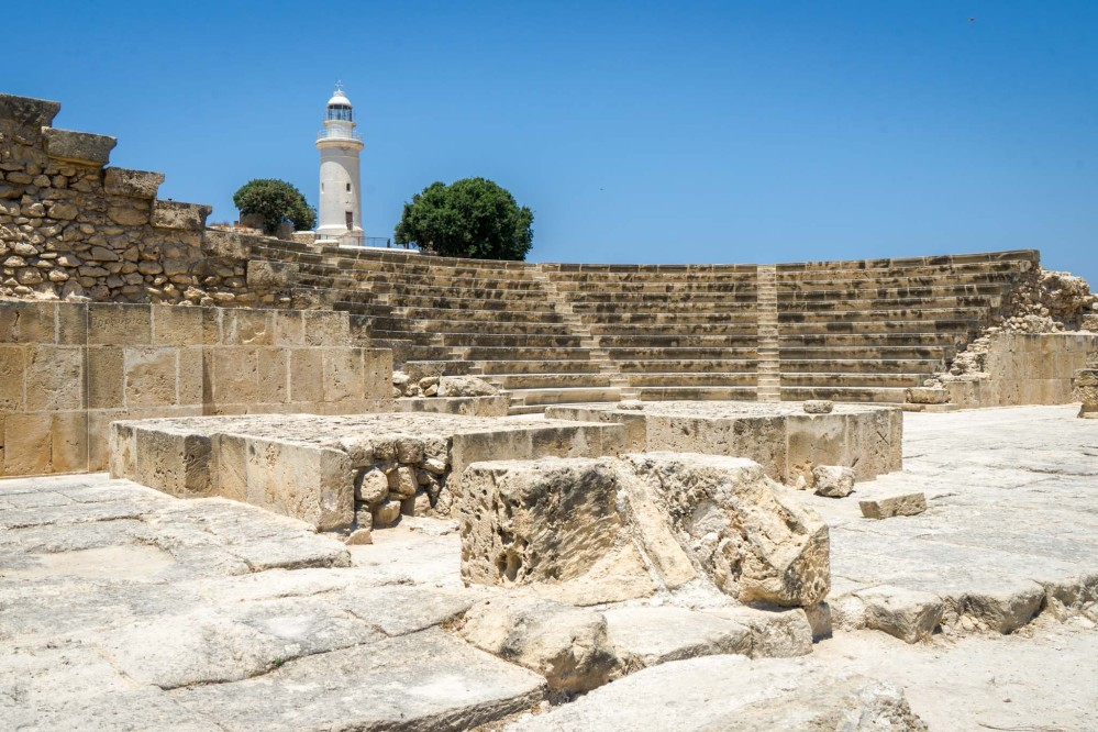 The Pafos Odeon inside the Kato Pafos Archaeological Site was built from limestone in the 2nd century AD. It's still used for musical and dramatic performances. – © Michael Turtle