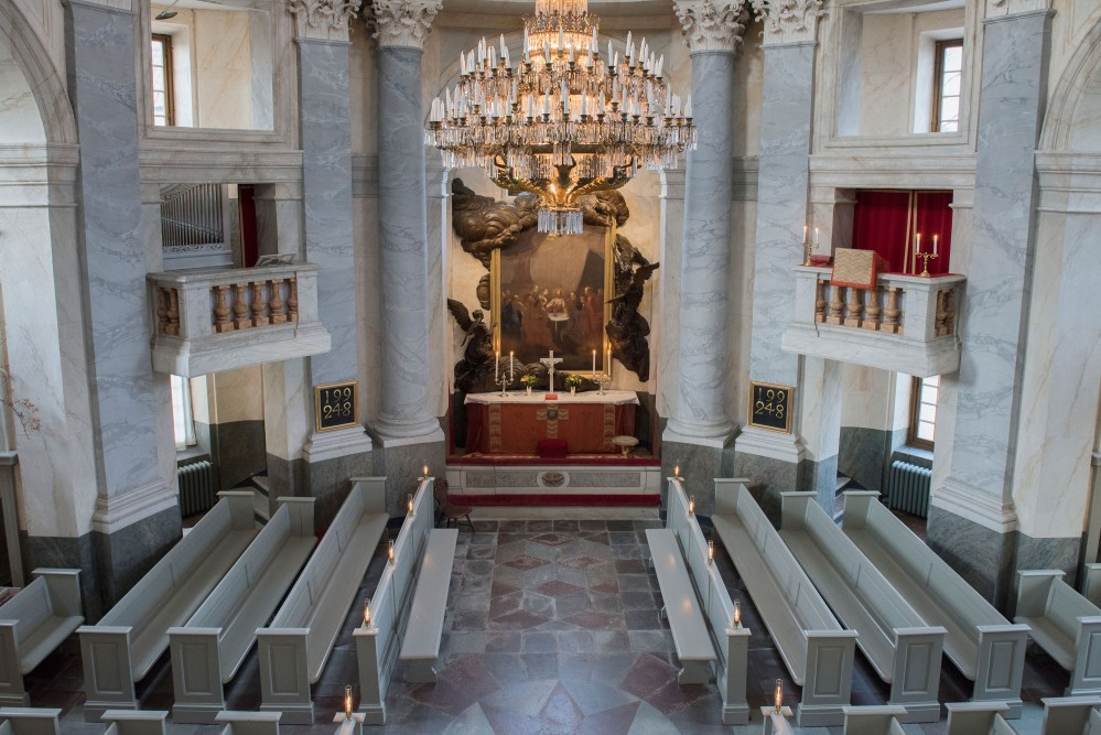 The Royal Chapel at Drottningholm was inaugurated in May 1746. During the chapel's more than 250-year history, Royal events have continued to be held here. On the last Sunday of every month, the parish of Lovön holds high mass. – © Lisa Raihle
