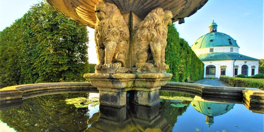 The Lion Fountain was moved to the Palace Garden in the 1740's and was only returned back to its original place in the Flower Garden after World War II. – © Tomas Vrtal