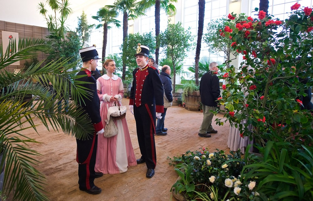 The Bishop's Men appear at various events and always wear period costumes, such as here at the exhibition of Camellias. – © Tomas Vrtal