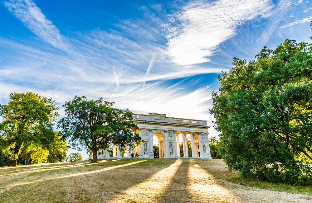 The neoclassical folly on Reisten Hill is used as a viewpoint above Valtice at the Czech–Austrian border. It was one of the last pieces of work by architect Josef Hardtmuth in the Liechtenstein's service (1810-1817). – © ZM_Photo / Shutterstock