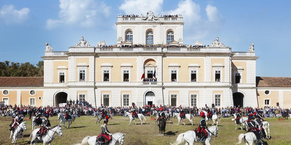 "Carabinieri riding in front of the Royal Site of Carditello for the event ""Horses and Knights 29th of October 2016"". – © Giovanni Ricci Novara"