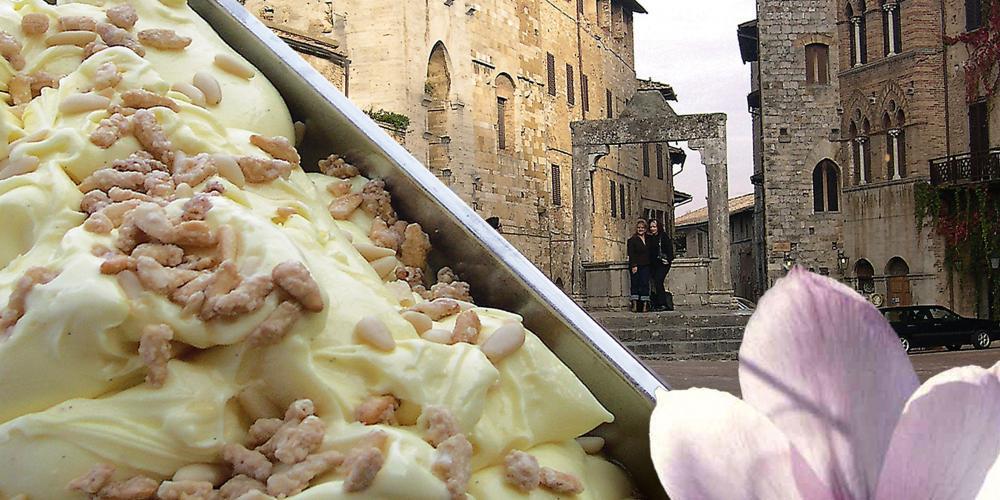 Crema di Santa Fina, an orange cream flavoured with bourbon vanilla pods (Madagascar), San Gimignano Saffron istils, and Pisa pine nuts. – © Gelateria Dondoli