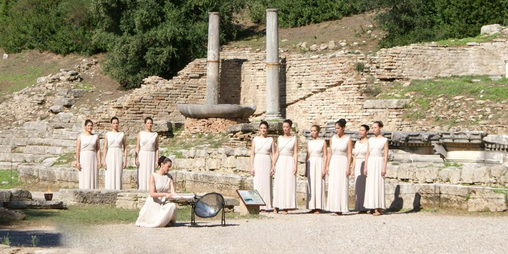 The Ceremony of the Lighting of the Olympic Flame in Ancient Olympia is an event with worldwide interest. – © Hellenic Ministry of Culture and Sports / Ephorate of Antiquities of Ilia