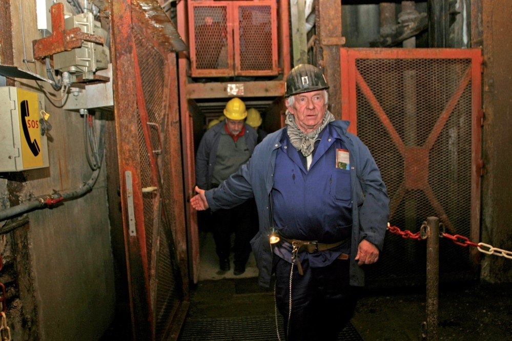 """Tours to the mine take the cage down to discover the mystical world of the """"black rock."""" – © Blegny Mine"""