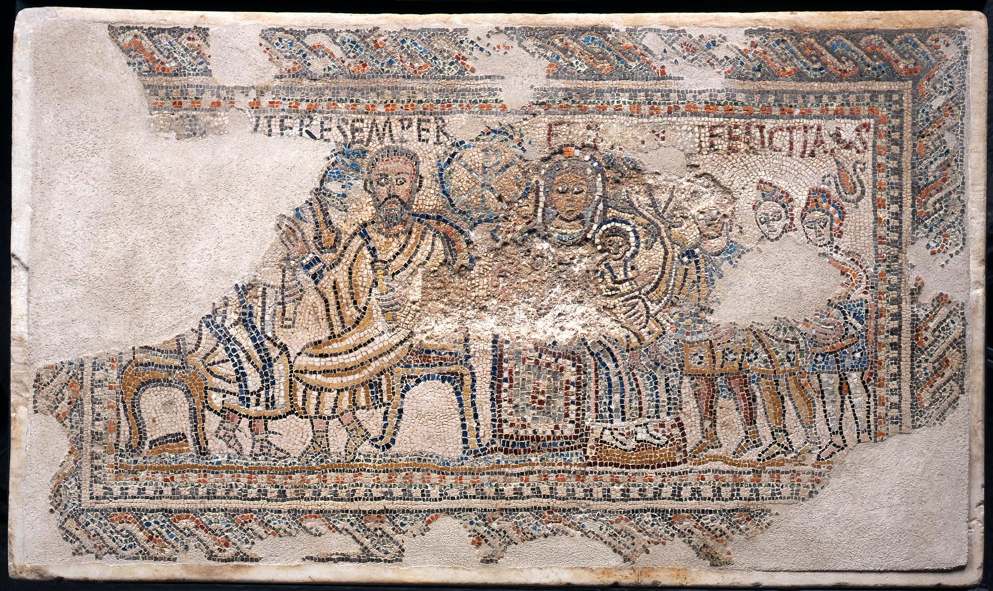 Polychrome mosaic with Epiphany scene (dated to about 370) from the locality of Sant' Amasio. – © Teano