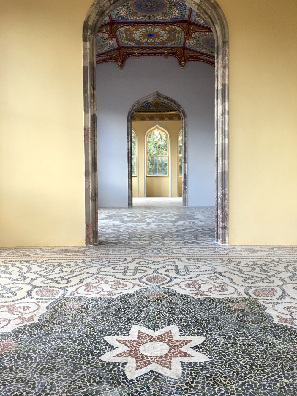 The mosaic floor on the first floor of the minaret is completely restored today you can see it within an exclusive touring circuit. – © Archive of Lednice Castle