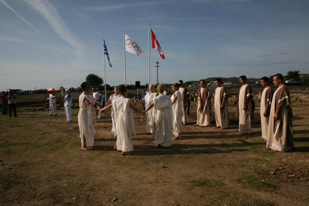 Visitors will see the ceremony of the reception of the Olympic Flame in Elis after its lighting at Olympia. – © Hellenic Ministry of Culture and Sports / Ephorate of Antiquities of Ilia