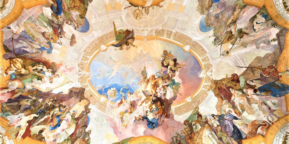 Apotheosis of the Bishopric Of Olomouc and Bishop Leopold Friedrich von Egkh by Franz Anton Maulbertsh is to be found in the Liege Hall and makes the room one of the most precious one in the whole Castle. – © Tomas Vrtal
