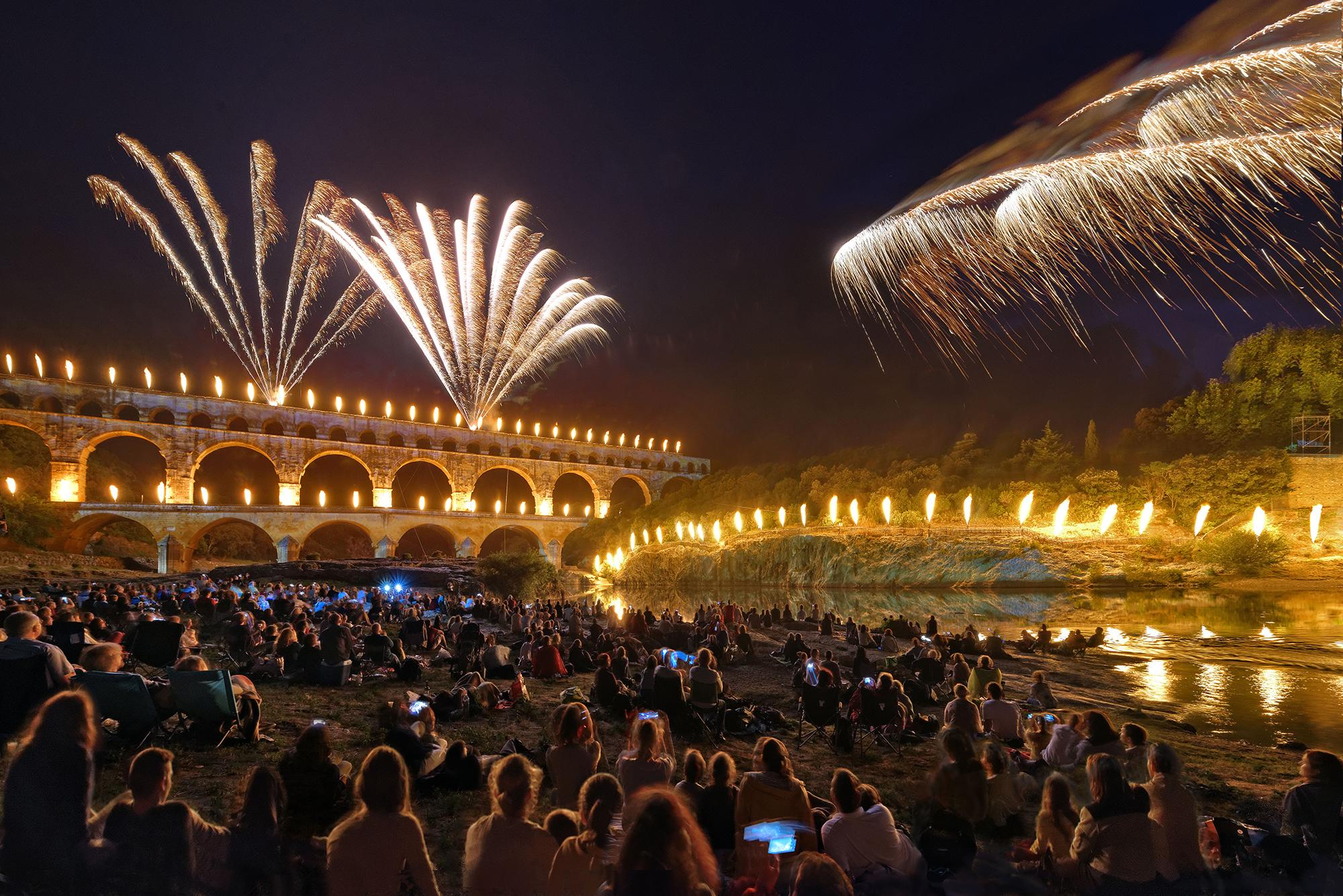"The ""Féeries du Pont"" is a sound and light show in June and a highlight in Pont du Gard's year-round program.  - © Thierry Nava"