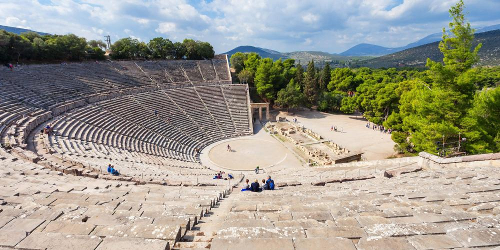 The Epidaurus Ancient Theatre is dedicated to the ancient Greek God of medicine, Asclepius. – © saiko3p / Shutterstock