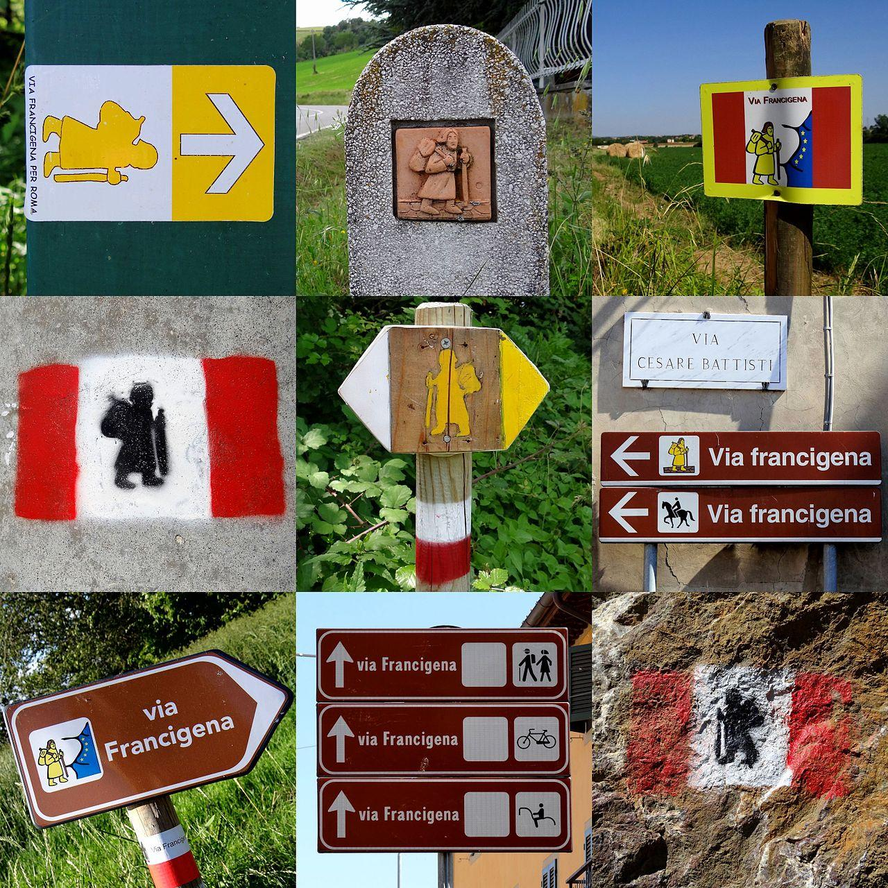 A variety of Via Francigena signposts will help guide your way – © Bjørn Christian Tørrissen / Wikimedia Foundation