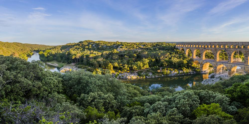 A panoramic view of the Site du Pont du Gard, which is considered to be among the best-preserved Roman aqueducts and a wonder of ancient construction. – © Aurelio Rodriguez
