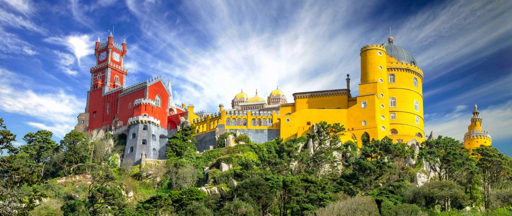 A view of the National Palace of Pena palace from below. The park and palace are Portugal's greatest example of 19th century Romanticism. – © Goncalo Borba / Shutterstock