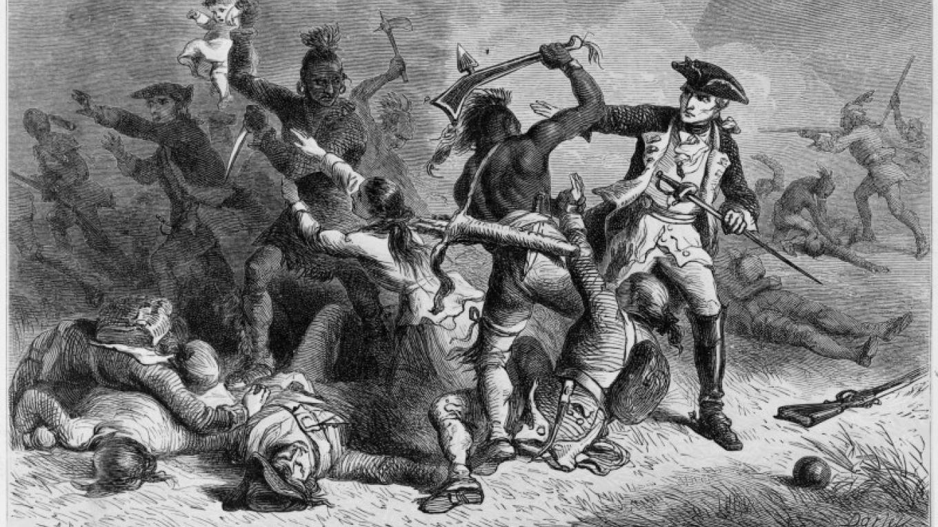 Louis-Joseph de Montcalm trying to stop Native Americans from attacking British soldiers and civilians as they leave Fort William Henry at the Battle of Fort William Henry. – Wood engraving by Alfred Bobbett, ca. 1824-1888 or 9, engraver, based on painting by Felix Octavius