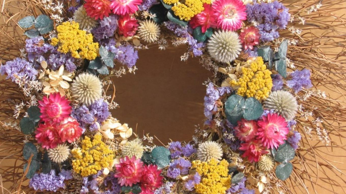 Floral Wreath using farm harvested flowers. Classes offered.