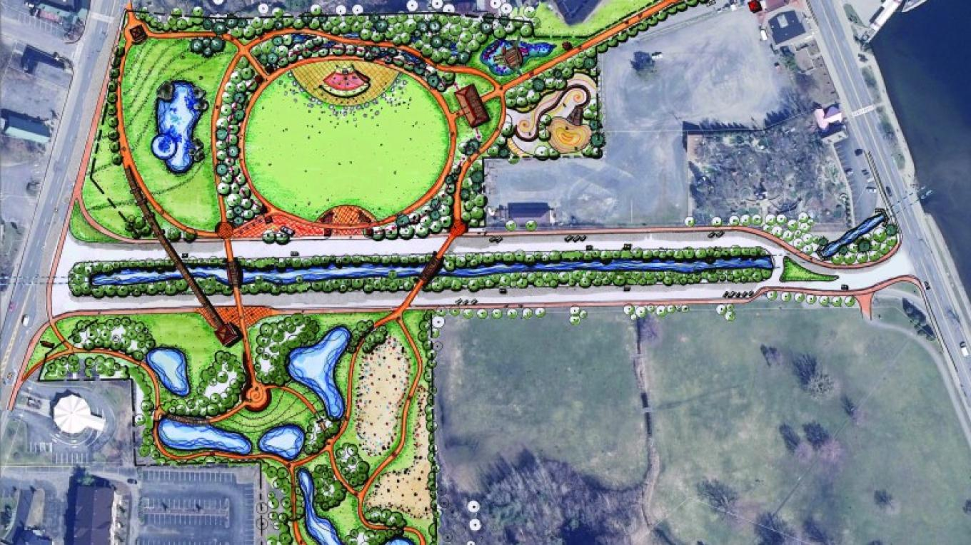 A conceptual plan for the West Brook Environmental Park, created by Elan Planning and Design in the summer of 2011, which includes a circular festival space in the middle of the north parcel.