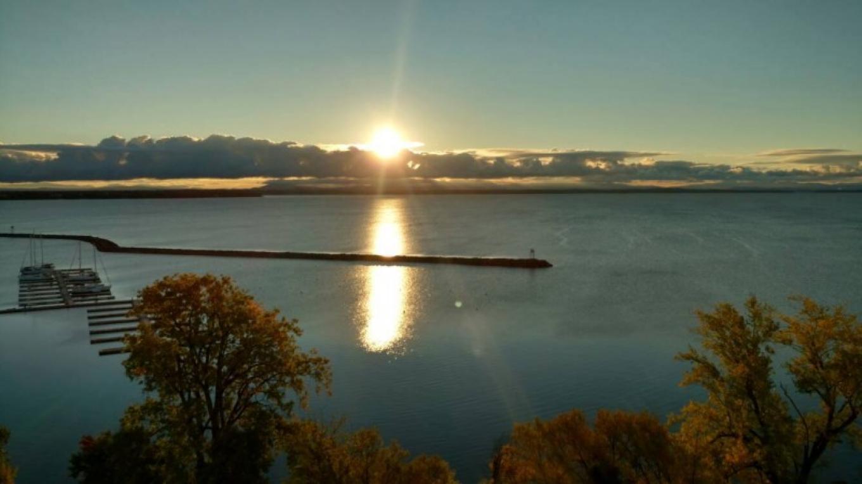 Sunrise over the breakwater and Plattsburgh City Marina – Plattsburgh City Marina