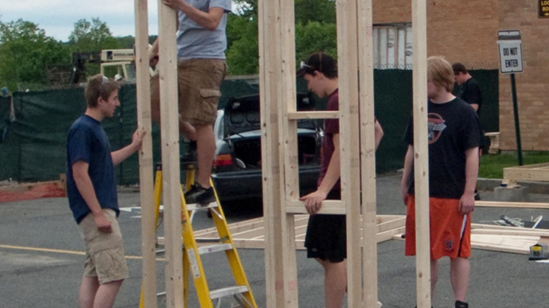 Scuylerville High Students built a Lock Tender's Shanty.