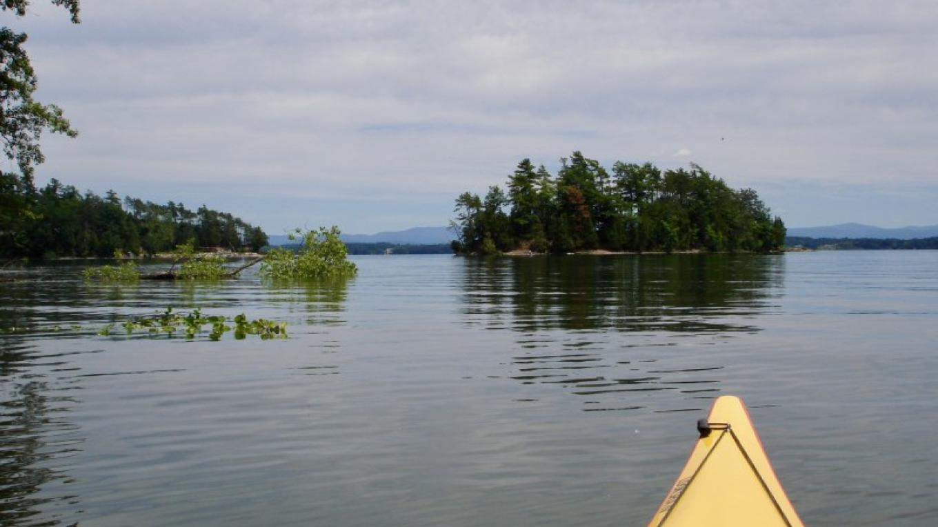 Approaching Cole Island. – Courtesy of Cathy Frank, in A Kayaker's Guide to Lake Champlain