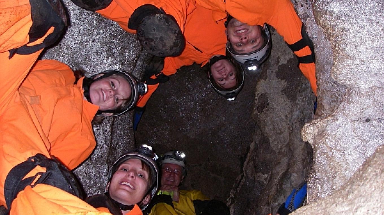 Adventure Tour.  Just like monkeys in a barrel (in the barrel cave). – Greg Beckler