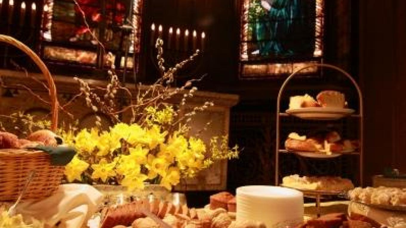 2011 Pastries among Tiffany windows at Daffodil Brunch fundraiser – Eileen Haldeman