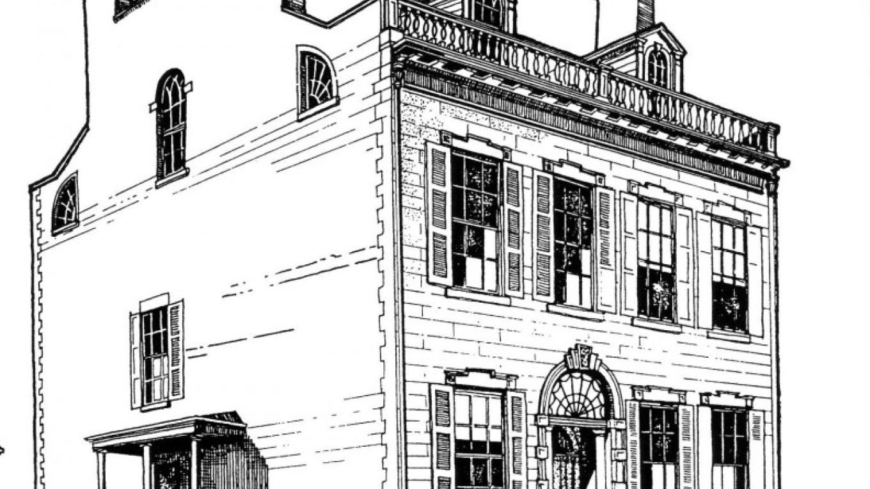 Hart-Cluett House rendering c. 1827 by Douglas G. Bucher