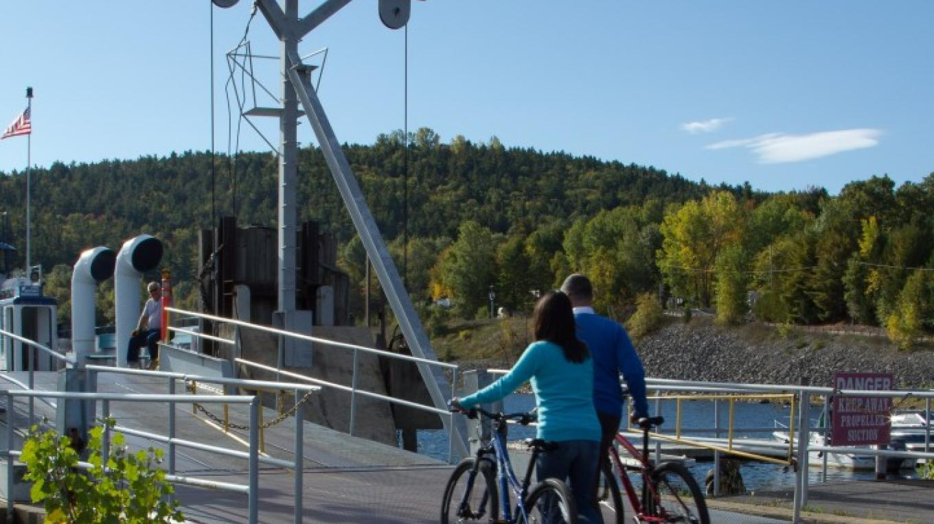 Bikes are welcome on the Port Kent Ferry. – Adirondack Coast Visitors Bureau