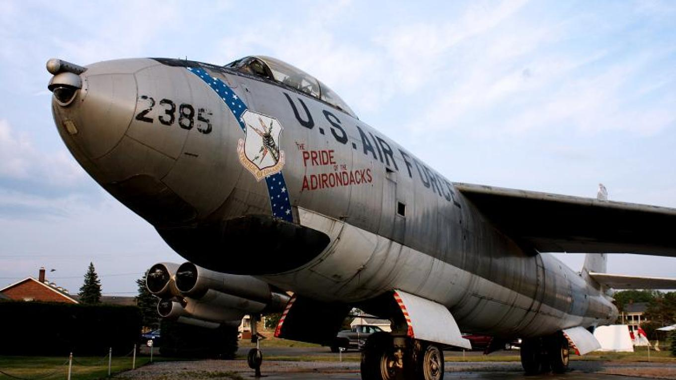 """A B-47 bomber with the inscription """"Pride of the Adirondacks"""", one of two aircraft on display in the Clyde A. Lewis Air Park. – Clayton Smalley (CCA via Wikimedia)"""