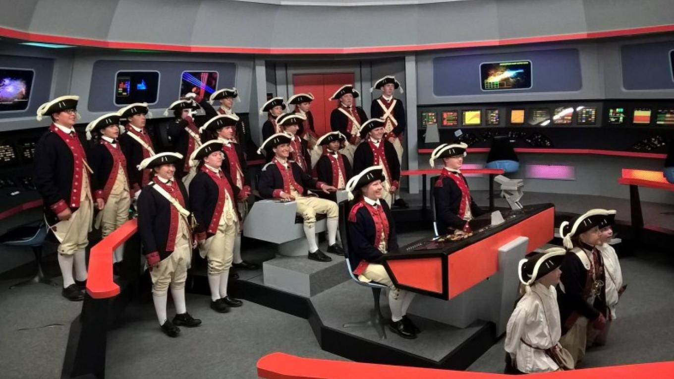 2016 Visiting Fife and Drum Corps on the Bridge, guests of James Cawley. – Courtesy of and copyright by Star Trek Original Series set Tour and CBS.