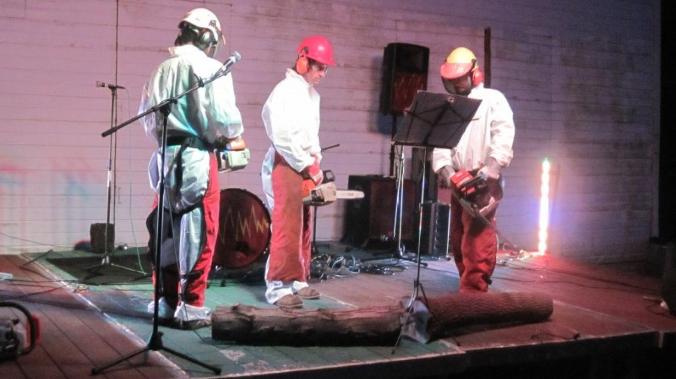 The Troy Chainsaw Ensemble playing at SAW's yearly SAWFest music festival