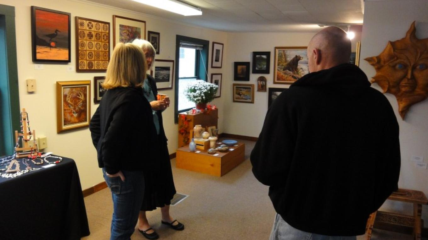 Reception attendees enjoying a show at the Art in Chestertown Gallery – Kate Austin-Avon