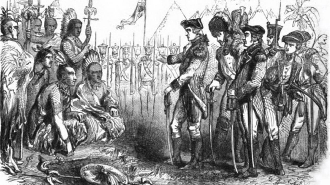 1865 illustration of General Burgoyne addressing the Indians. – John Cassell (Internet Archive) [Public domain], via Wikimedia Commons