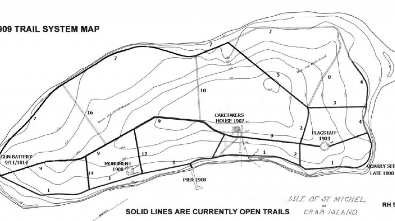 Crab Island Trail Map – Courtesy of the Clinton County Historical Association