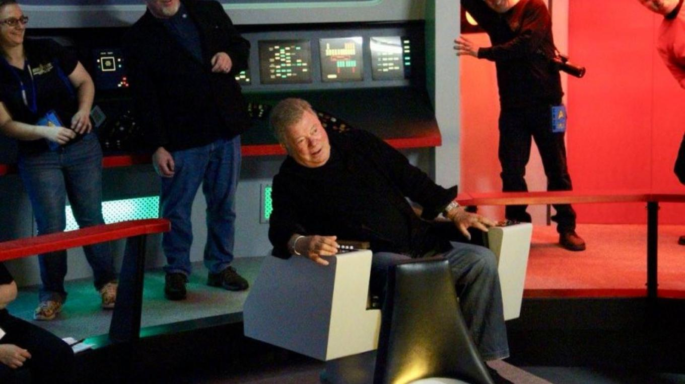William Shatner on the Strek Tour Bridge May 2018 – Star Trek Tour staff